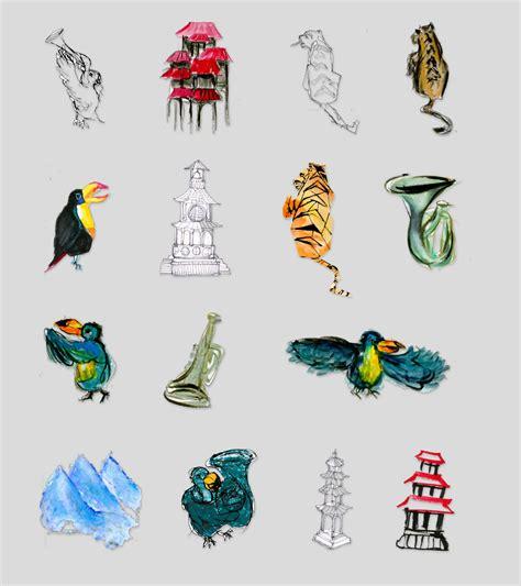 illustration tibet toucans