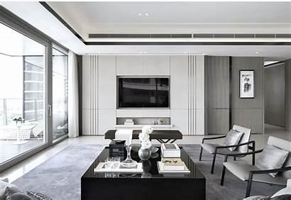 Wall Tv Living Modern Interior Contemporary Mid