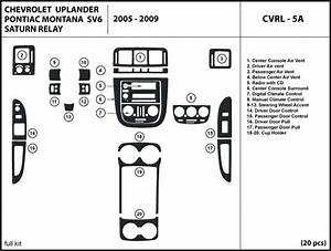 2005 2006 2007 2008 2009 Chevrolet Uplander Wood Dash Kit