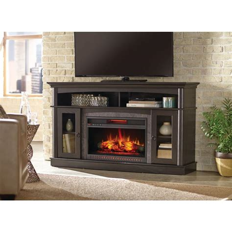 portable fireplace home depot home decorators collection rinehart 59 in media console
