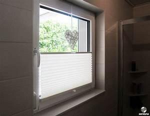 Klebefolie Fenster Sichtschutz : sichtschutz am badezimmer fenster dank neuem sensuna plissee aus dem raumtextilienshop ein ~ Watch28wear.com Haus und Dekorationen