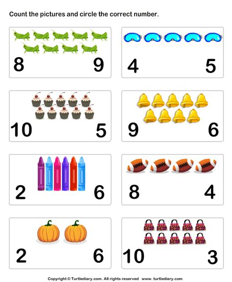 count pictures   ten worksheet turtle diary