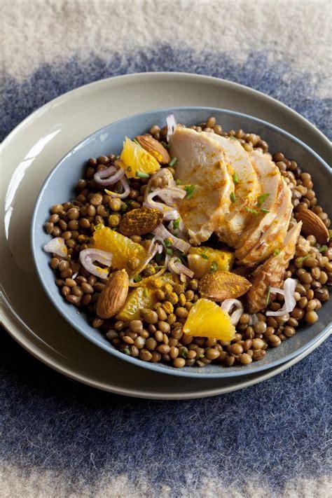 lentilles cuisine recette salade de lentilles et poulet au curcuma cuisine
