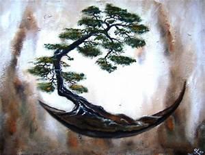 Bilder Bäume Gemalt : bonsai art in rundschale baum malerei stuktur acrylmalerei von einzigartig bei kunstnet ~ Orissabook.com Haus und Dekorationen