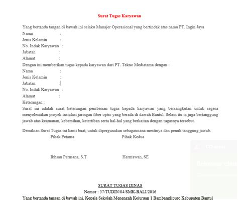 Contoh Surat Tugas Karyawan by Contoh Surat Tugas Dinas Yang Baik Dan Benar Revisi 2017