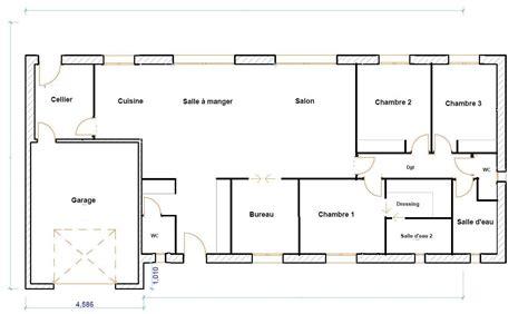 plan de maison plain pied 4 chambres avec garage plan maison plain pied 120m2