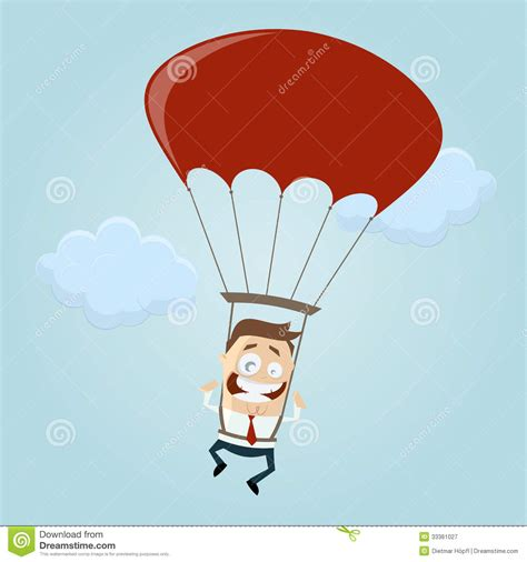 Business Man With Parachute Stock Vector - Image: 33361027