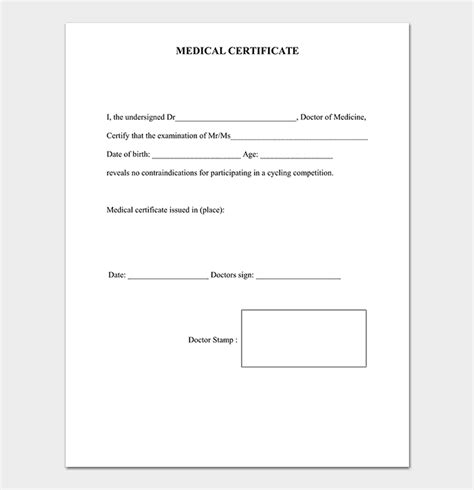 medical certificate templates word templates
