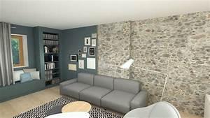 salon contemparain mur en pierre decoration soa With deco salon mur pierre