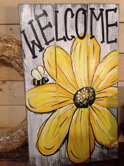 wcome daisy primitive rustic pallet porch country
