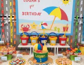 Image of: 1st Birthday Table Decoration Bhdreams Applicable Beach Theme Décor With Fresher Ideas And Results