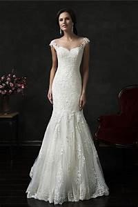 Illusion neckline sheer back cap sleeve tulle lace wedding for Illusion sleeve wedding dress
