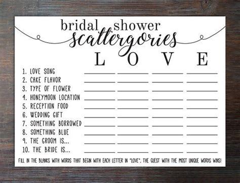 Bridal Shower Scattergories Game Bridal Shower