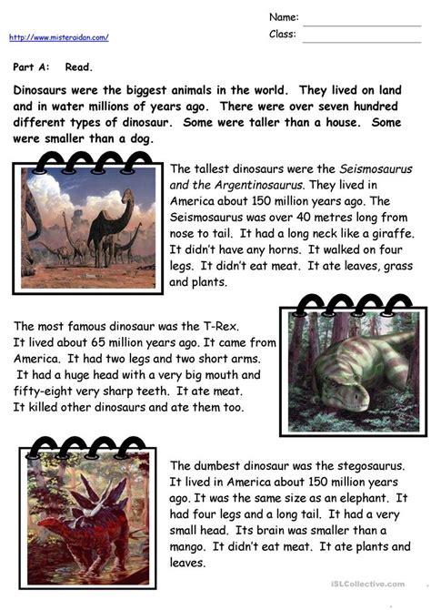 reading comprehension worksheet dinosaurs dinosaur facts worksheet free esl printable worksheets