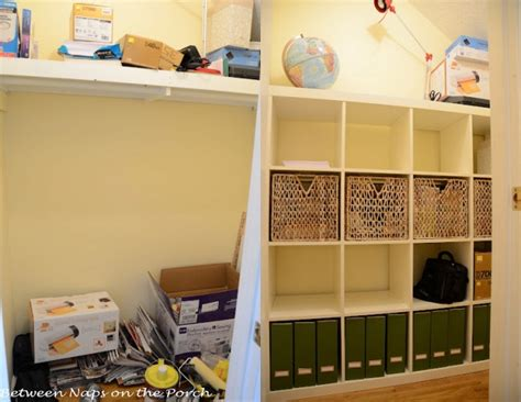 ikea hack closet organizer ikea expedit in closet for office and craft room storage and organization