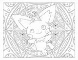 Pokemon Pichu Coloring Adult Aesthetic Mandala Windingpathsart Teddiursa Template sketch template