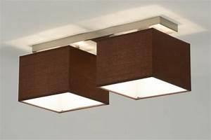 Deckenlampe Wohnzimmer Modern : deckenleuchte 71461 modern braun stahl rostbestaendig stoff ~ Frokenaadalensverden.com Haus und Dekorationen