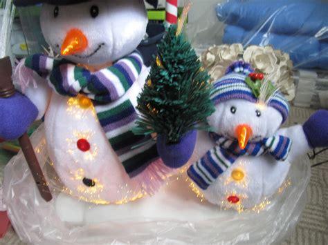 moving fibre optic snowmen decoration  snowing fibre