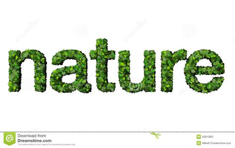 Word Nature Made From Green Leaves Isolated On White Background Stock Illustration Image