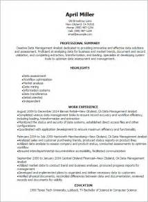 professional data management analyst resume templates to