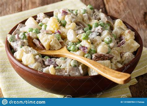 Latvian Baltic Salad Rasols Made Of Vegetables, Herring ...