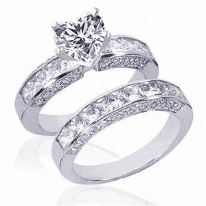 Bridal sets 325 ct heart shape diamond wedding rings set for Heart shaped wedding rings bridal set