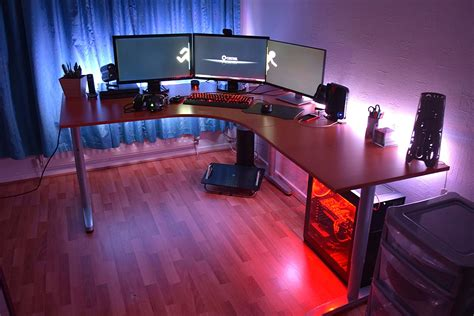 red light desk l tidy battlestations with ikea bekant desk with triple