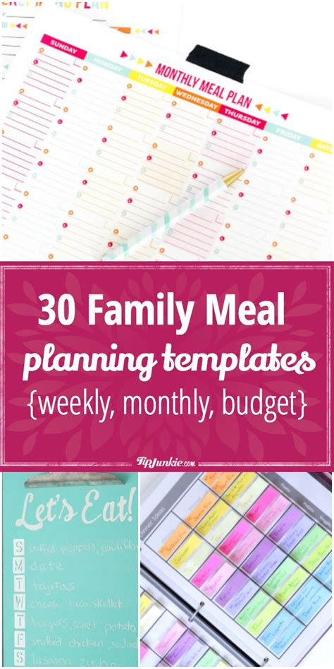 family meal planning templates weekly monthly budget