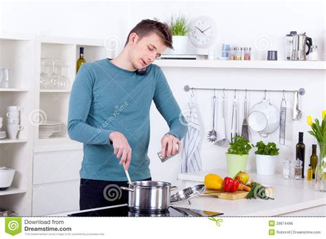 Talking Kitchen by Cooking A Meal And Talking On The Phone In The