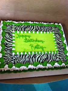 Lime Green Zebra Print Birthday Cake