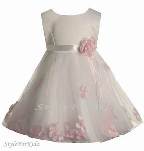 Baby girl white pink flowergirl dress christening wedding for Baby dresses for wedding