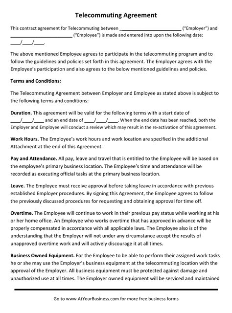 Telecommuting Agreement Template Download Printable PDF | Templateroller