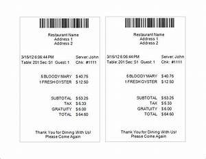 19 restaurant receipt templates sample templates for Dinner receipt template