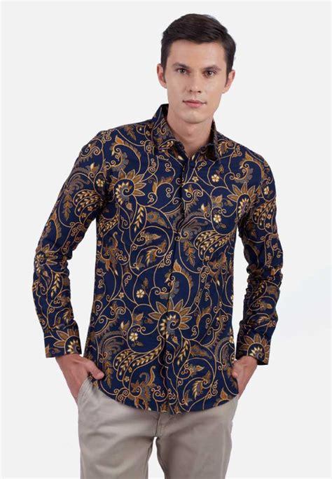 model baju batik pria gaul kombinasi polos modern