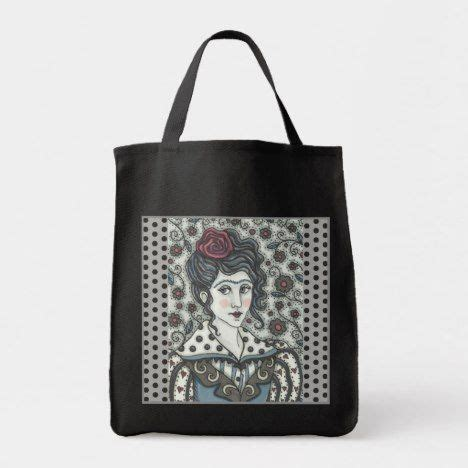 woman gothic portrait grocery tote bag black gothic goth withces warlocks darkside tote