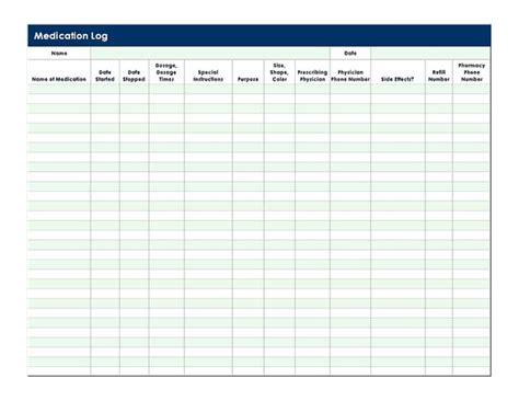 medication log template medication log