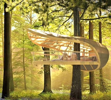 Sailboatinspired Prefab Treehouse Villa Hangs From The