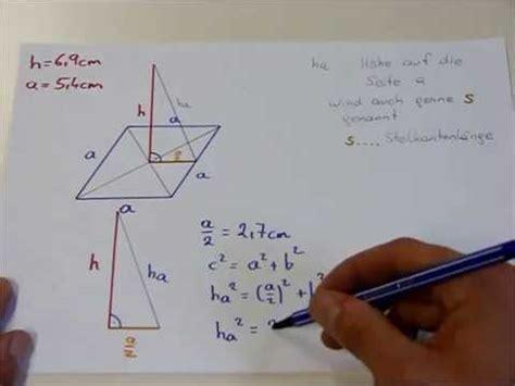 quadratische pyramide oberflaeche volumen youtube