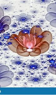 Abstract Fractal 3d Space Blue Flowers Against A Light ...