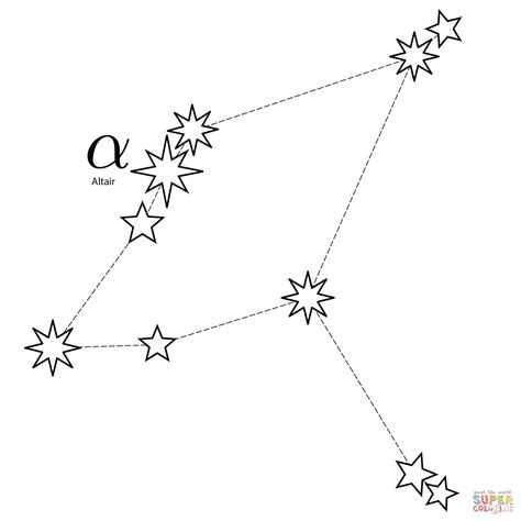 constellation of cygnus worksheet aquila constellation coloring page free printable