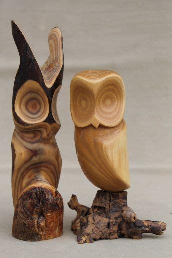pair  owls vintage rustic modern abstract wood carvings