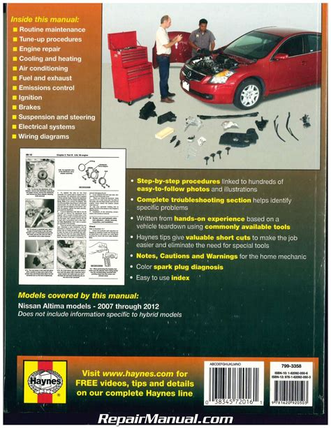 chilton car manuals free download 2007 nissan altima parking system haynes nissan altima 2007 2012 auto repair manual