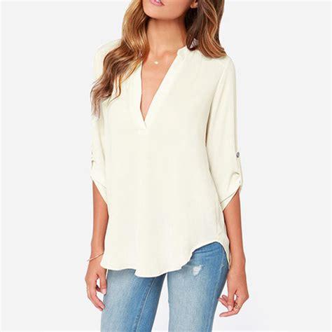 womens plus blouses summer style womens chiffon blouse white