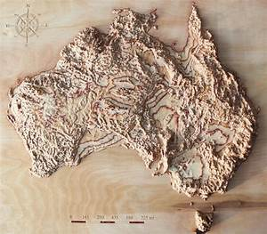 3D raised relief map of Australia cut in wood 17 x