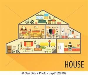 Dessin Intérieur Maison : clip art vecteur de maison dessin anim salles meubles int rieur maison csp31328162 ~ Preciouscoupons.com Idées de Décoration