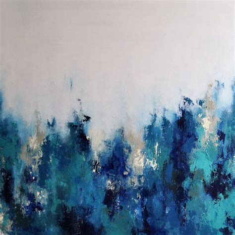 Original Abstract Palette Knife Painting Blue Grays
