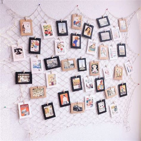 8'' h x 2.75'' w Photo Hanging Display Fish Net Wall Decorations Picture Frames Multi Photos Organizer with 40 ...