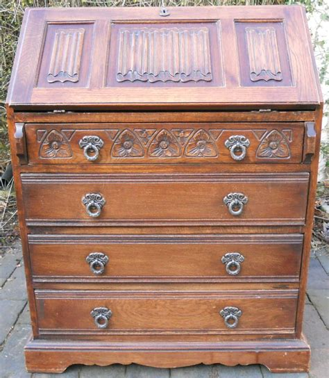 charm carved oak writing bureau