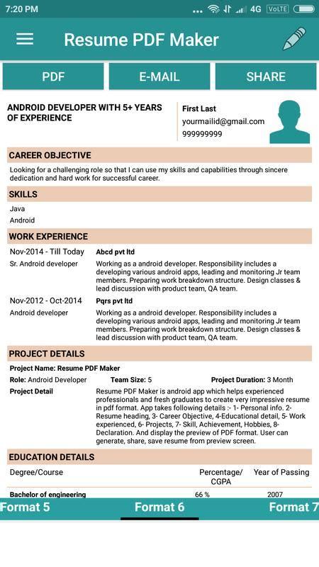 resume pdf maker cv builder apk download free business