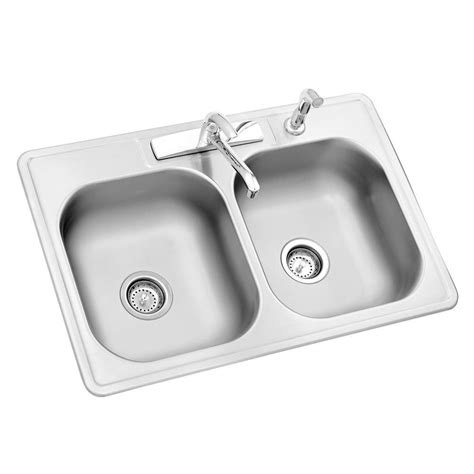 double stainless steel kitchen sink glacier bay all in one drop in stainless steel 33 in 4